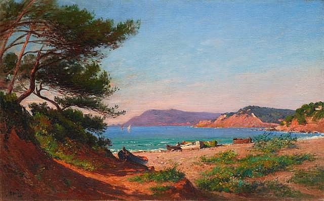 François NARDI (Nice, 1861 - Toulon, 1936) La crique ensoleillée Huile sur toile