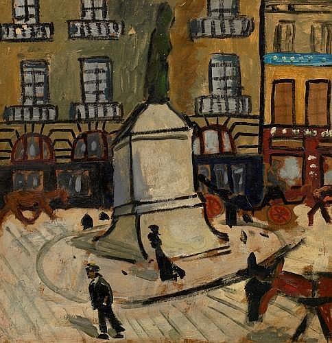 Auguste Elisée CHABAUD (Nîmes, 1882 - Graveson, 1955) Le quai de Conti, circa 1908 Huile sur carton