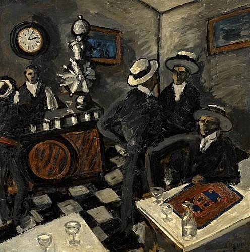 Auguste Elisée CHABAUD (Nîmes, 1882 - Graveson, 1955) Le bar aux canotiers, circa 1908 Huile sur carton