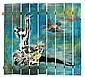 BLEK LE RAT (né en 1951 -) DANSEUSE ETOILE ET OISEAU, 1990 Pochoir, peinture aérosol et acrylique sur palissade en bois,  Blek Le Rat, Click for value