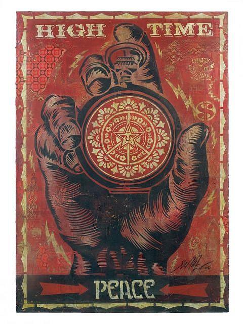 Shepard FAIREY (OBEY GIANT) (né en 1970 -) HIGH TIME FOR PEACE STENCIL, 2006 Pochoir, peinture aérosol et collages sur papier
