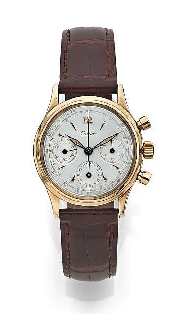 CARTIER N°1277826, vers 1945 Rarissime chronographe