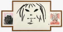 Erik DIETMAN (1937 - 2002) OLD MAN HURT BY A YOUNG GIRL Technique mixte et collage sur papier (triptyque)