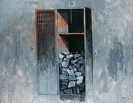 ¤Fabrizio PLESSI (né en 1940) STUDIO PER LA STANZA DEI SASSI, 1989 Huile sur toile ...