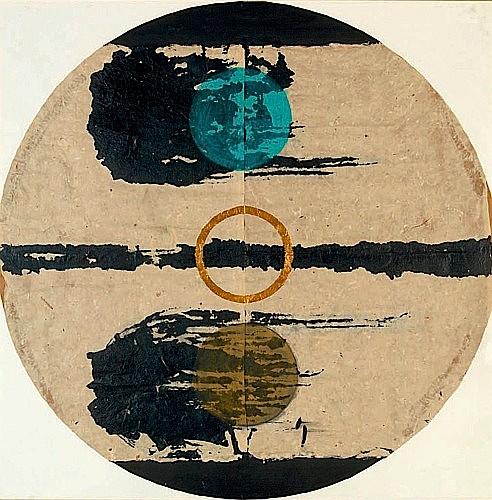 Luciano BARTOLINI (1948-1994) COMPOSITION Technique mixte sur papier de riz marouflé sur carton
