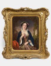 Henri-Guillaume Schlesinger Francfort-sur-le-Main, 1814 - Neuilly-sur-Seine, 1893 Portrait de femme à la robe rose et à la veste ble...