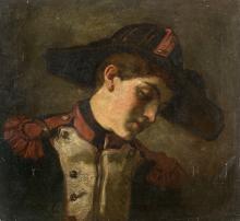 Thomas Couture et atelier Senlis, 1815 - Villiers-le-Bel, 1879 Étude de jeune soldat de profil Huile sur toile