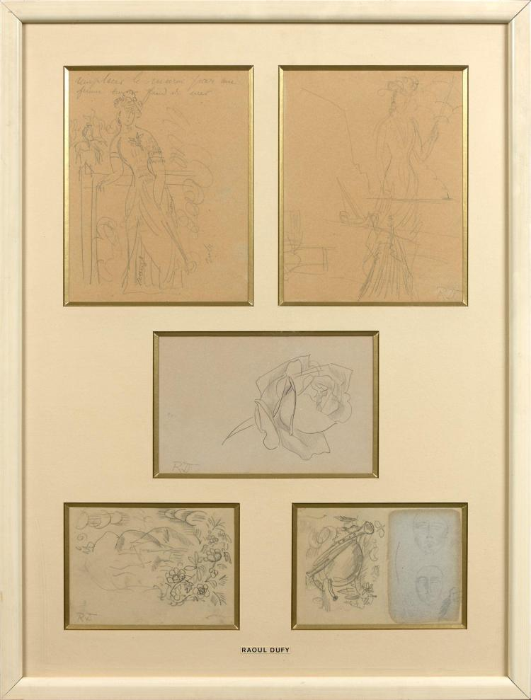 raoul dufy 1877 1953 cinq dessins sous un m me encadrement. Black Bedroom Furniture Sets. Home Design Ideas