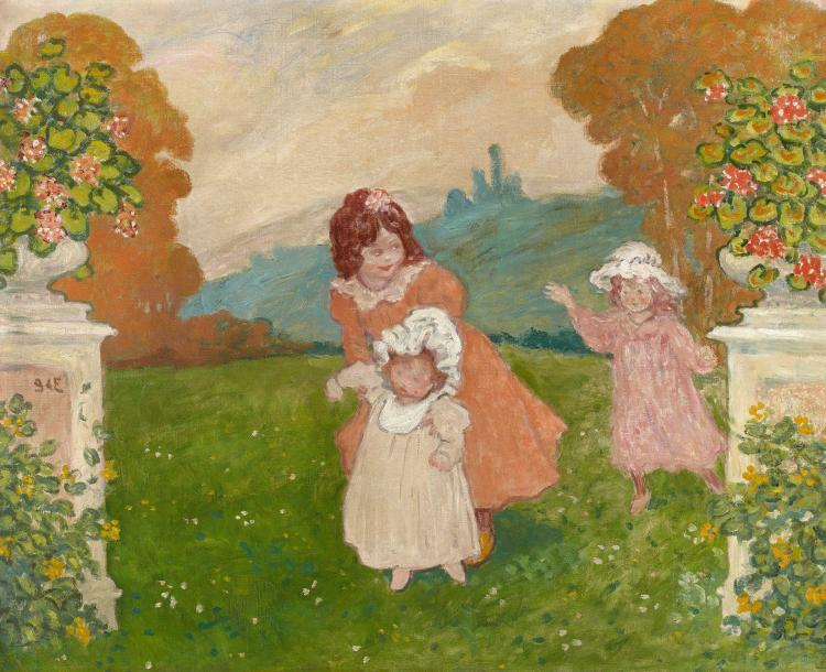 Georges d 39 espagnat 1870 1950 jeux d 39 enfants au jardin 1 for Toile tendue jardin