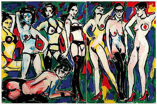 ¤Luciano CASTELLI (né en 1951) I LOVE WOMEN, (Dyptique), 1982 Huile sur toile s...