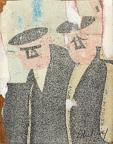 François DUFRENE (1930-1982) LA LUNE EN RODAGE, 1962 Dessous d'affiches arrachées marouf...