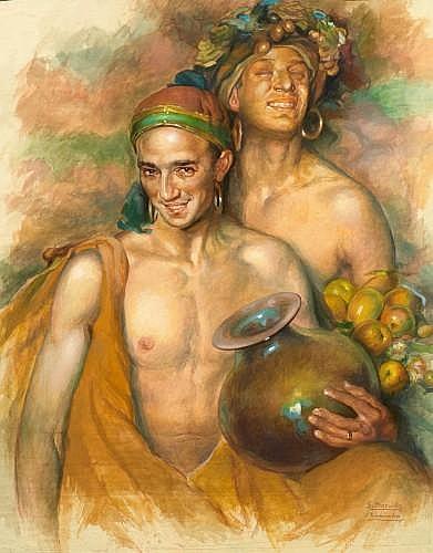 Gabriel MORCILLO RAYA (Grenade, 1888 - Grenade, 1973) Jeunes hommes Aquarelle et gouache sur papier