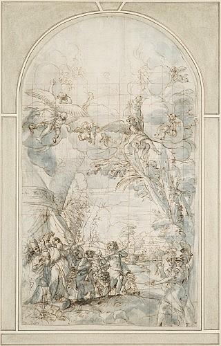 Giacinto Calandrucci Palerme, 1646 - 1707 La grappe miraculeuse du pays de Canaan Plume et encre brune sur traits de crayon noir, la...