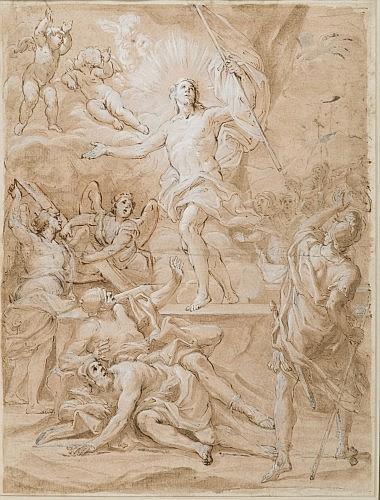 Giacinto Calandrucci Palerme, 1646 - 1707 Recto : La Résurrection du Christ ; Verso : Etudes pour une autre Résurrection du Christ,...