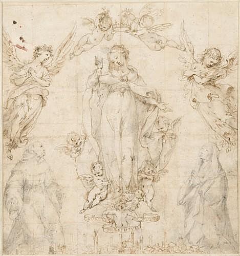 Francesco Vanni Sienne, 1563 - 1610 La Vierge, protectrice de Sienne, avec saint Bernardin et sainte Catherine, les saints patrons d...
