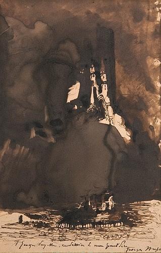 Victor Hugo Besançon, 1802 - Paris, 1885 Château fantastique Plume et encre brune