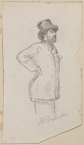 Marcellin Desboutin Cérilly, 1823 - Nice, 1902 Degas au chapeau Crayon noir