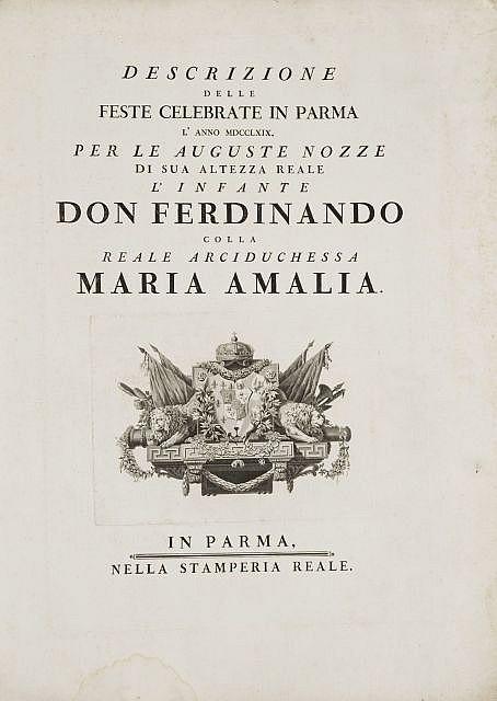 D'après Ennemond-Alexandre Petitot Lyon, 1727 - Parme, 1801 Descrizione delle Feste celebrate in Parma l'anno MDCCLXIX per le august..