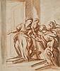 Attribué à Elisabetta Sirani Bologne, 1638 - 1665 Personnages au seuil d'une porte Sanguine et lavis brun