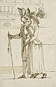 Ecole française du début du XIXe siècle  Incroyable et merveilleuse marchant Plume et encre brune, lavis gris