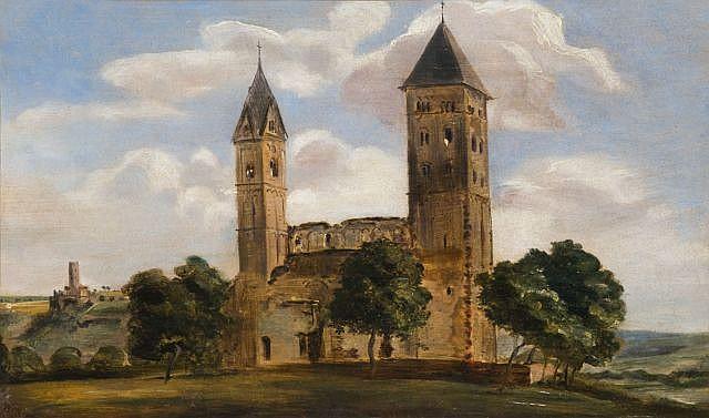 Adrien Dauzats Bordeaux, 1804 - Paris, 1868 Etude d'église romane dans un paysage vallonné Huile sur papier marouflé sur toile,