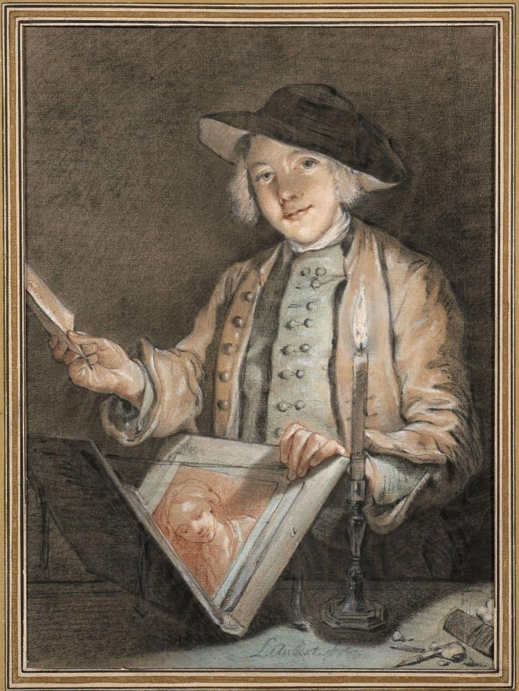 Louis Aubert Paris, 1720 - après 1798 Le jeune amateur de dessins Pastel, rehauts de gouache et crayon noir