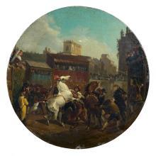Attribué à Horace Vernet Paris, 1789 - 1863 Le départ de la course des chevaux libres à Rome Huile sur cuivre, de forme ronde