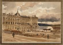 Adrien Dauzats Bordeaux, 1804 - Paris, 1868 Vue du Palacio Real à Madrid Aquarelle sur trait de crayon noir