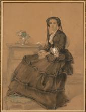 Auguste Toulmouche Nantes, 1829 - Paris, 1890 Portrait de femme assise dans un intérieur Aquarelle et rehauts de gouache blanche sur...
