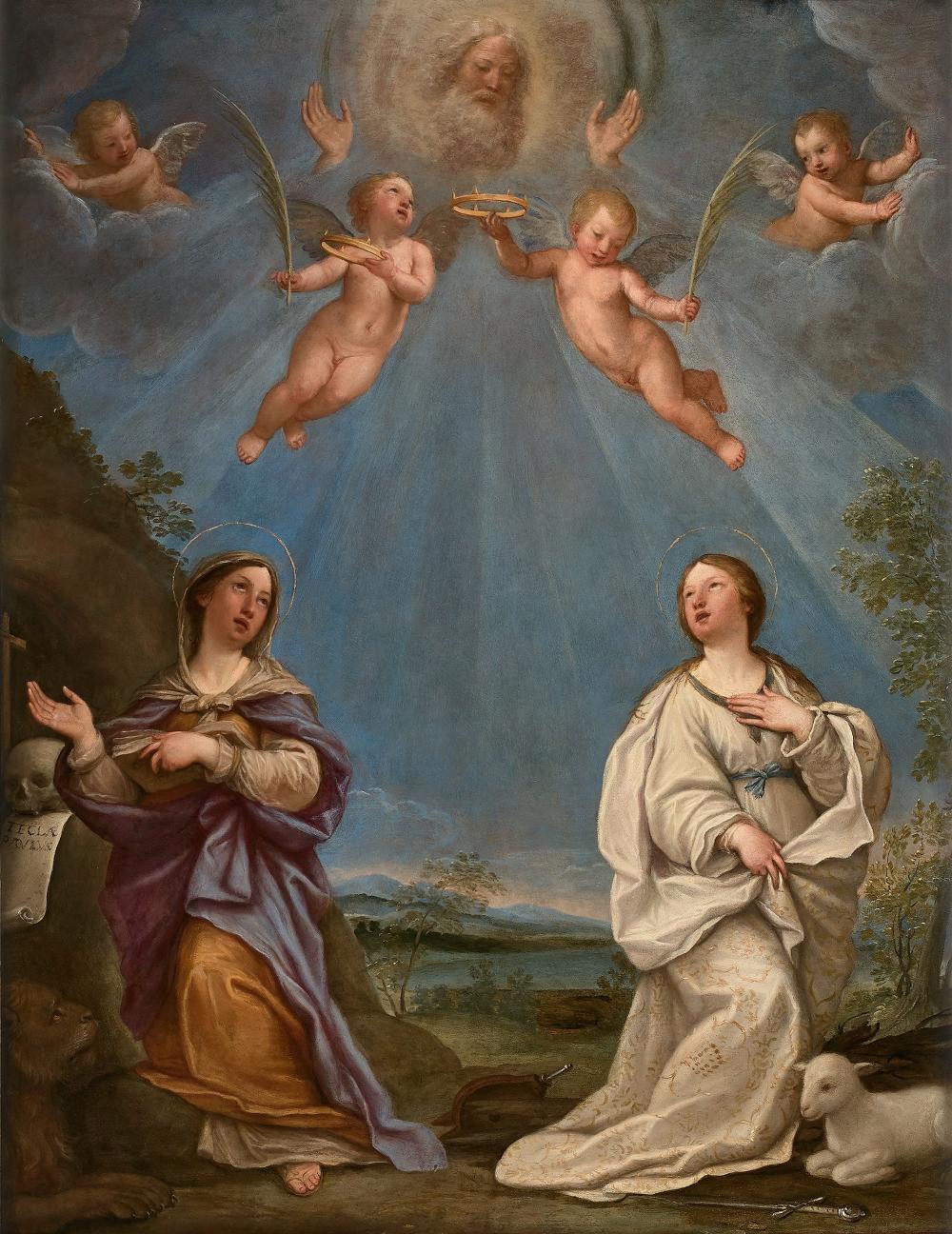 Francesco ALBANI, dit l'Albane Bologne, 1578 - 1660 Dieu le Père apparaissant à sainte Thècle et sainte Agnès Huile sur cuivre