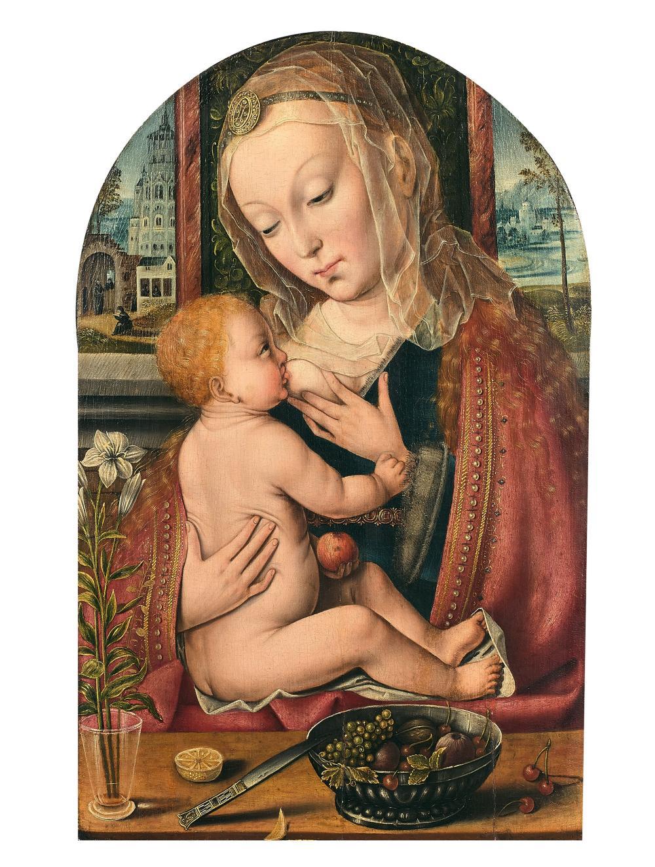 Pays-Bas, XVIe siècle La Vierge à l'Enfant allaitant Huile sur panneau de chêne, de forme cintrée en partie supérieure, diminué, do..