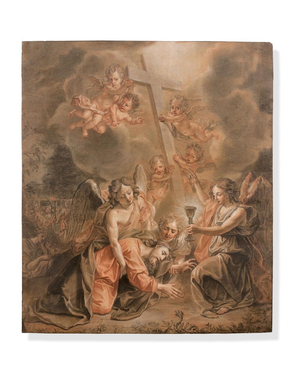 Attribué à Charles-Antoine COYPEL Paris, 1694 - 1752 Le Christ au jardin des Oliviers Trois crayons