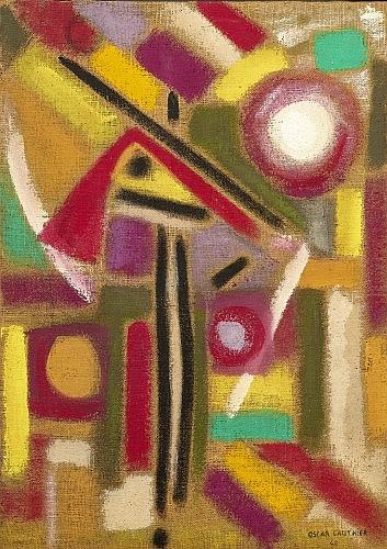 Oscar GAUTHIER (né en 1921) COMPOSITION ABSTRAITE, 1948 Huile sur toile de jute
