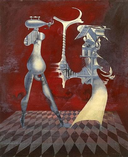 Jules PERAHIM (1914 - 2008) RENCONTRE MECANIQUE, 1970 Huile sur panneau