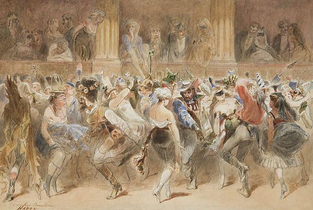 Paul Hadol Rouen, 1835 - Paris, 1875 Bal masqué Aquarelle gouachée sur trait de crayon noir,