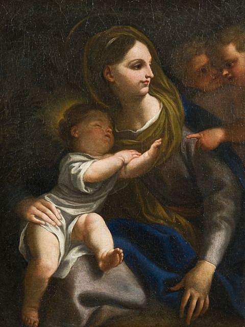 Attribué à Domenico Piola Gênes, 1627 - 1703 La Vierge à l'Enfant et angelots Huile sur toile