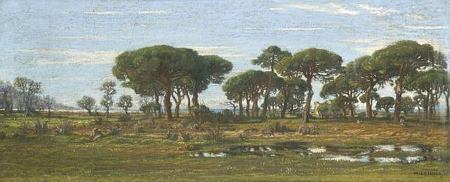 Félix-Hippolyte Lanoüe Versailles, 1812 - 1872 Paysage de littoral aux grands pins Pastel