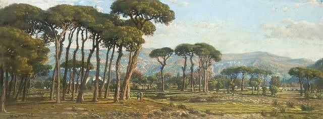 Félix-Hippolyte Lanoüe Versailles, 1812 - 1872 Paysage de pinède au pied d'une chaine de montagnes Pastel