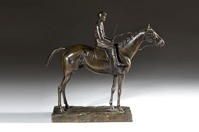 D'après Giuseppe Ferrari Rome, 1840 - 1905 Jockey à cheval Bronze d'édition à patine brun clair