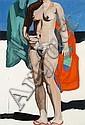 Marc DESGRANDCHAMPS (né en 1960) NU AVEC SERVIETTE AUX POISSONS, 2001 Gouache sur papier, Marc Desgrandchamps, Click for value