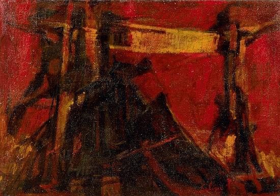 Selim TURAN (1915-1994) COMPOSITION ROUGE Huile sur toile