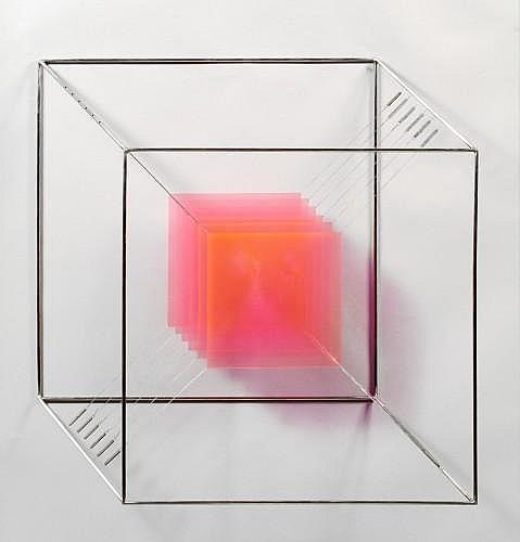 Piotr KOWALSKI (1927 - 2004) CUBE N°7, 1967 Structure en acier et plexiglas rose fluorescent