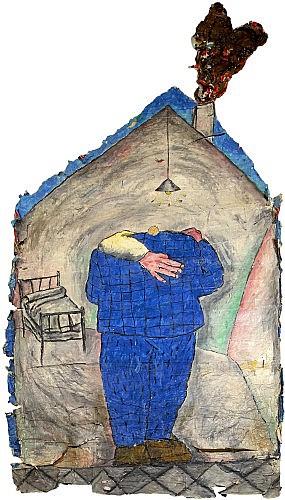 Jean-Charles BLAIS (né en 1956) SANS TITRE, 1985 Huile, gouache , crayon et pastels sur arrachage d'affiches