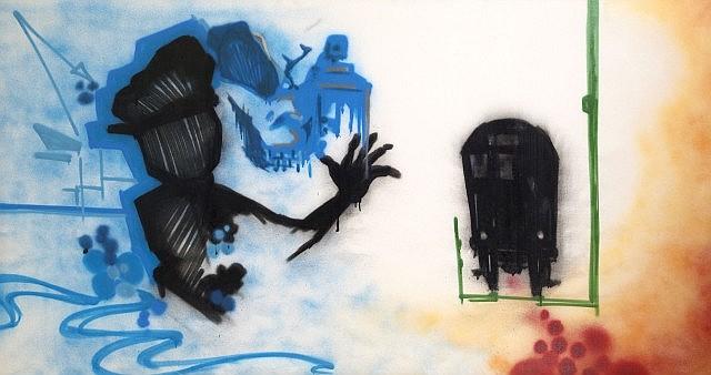 DONDI WHITE (Donald J. White aka (1961 - 1998) BLUE SKIES, 1983 Peinture aérosol sur toile