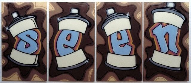 SEEN (Richard Mirando aka) (né en 1961) SPLASH SEEN, 1984 Peinture aérosol et marqueur sur toiles (en 4 parties)