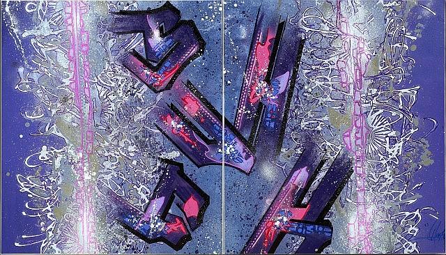 SHUCK ONE (né en 1970 -) WINTER SESSION, 2009 Acrylique, peinture aérosol et marqueur sur toiles assemblées en diptyque