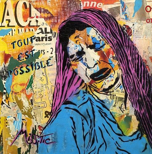 MISS TIC (née en 1956) TOUT EST POSSIBLE, 1999 Pochoir et peinture aérosol sur affiches marouflées sur toile