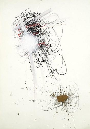 Jean FAUCHEUR (né en 1956 -) FAUCHEUR PAR FAUCHEUR Dessin au stylo feutre, acrylique et marqueur doré sur papier
