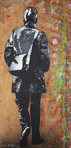Jef AEROSOL (né en 1957) SAMUEL, 2011 Pochoir, peinture aérosol et collages de carton sur papier kraft marouflé sur bois