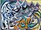 Esther CARP (Skiernewice, 1897 - Paris, 1970) COMPOSITION, CIRCA 1950 Huile sur toile